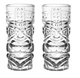 Barconic Tiki Cocktail Glass 15 oz, Exotic Zombie Faced South-Sea themed (2 Glasses, Clear)