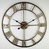 YESHUOYS Reloj de Pared de Metal Estilo Vintage - Sala de Estar Moderna apartamento Moderno Hotel Cafe Iron Art Reloj de Pared Grande-Dorado_Los 60cm