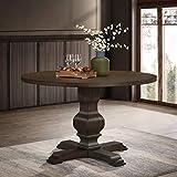 Roundhill Furniture Havre Wood Pedestal Round Dining Table, Burnished Oak