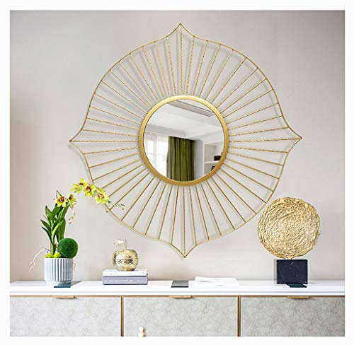 60cm Vintage Iron Sunburst Wall Mirror Shape Round 3D Stereo Shabby Chic,elegant and quiet, Wall Mirror Hand forging Decorative Wall Mountable Hall, Livingroom, Bedroom, Hallway