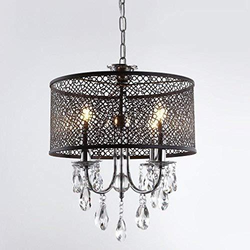 CHENJUNAMZ Lámpara de Hierro Redondo Elegante de la lámpara 4 Luces de la lámpara E14 Asiento Comedor Sala de Estudio Altura de la lámpara de Techo Ajustable