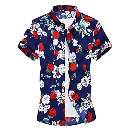 CICIYONER Herren Strand Hemd Hawaiihemd Beach Insel Hirsch Party Vordertasche Button Down Kragen 90's surf Aloha Freizeit Hemden M L XL XXL XXXL
