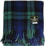 I LUV LTD Scottish Tartan Warm Wool Mix Throw Blanket Black Watch Plaid Couch Blanket Bed Throw Blankets Wool Rug Outdoor Blankets and Throws 60' x 72'
