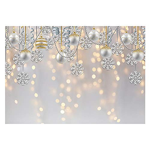 Funnytree 7x5ft Winter Wonderland Party Backdrop for Photography White Christmas Merry Xmas Snowflake Glitter Bokeh Background Sparkle Baby Shower Kids Birthday Portrait Banner Photo Booth Studio