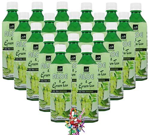 yoaxia ® - [ 20x 500ml ] TROPICAL Aloe Vera Getränk mit Grünem Tee/mit 20% Aloe/Aloe & Green Tea Drink + ein kleines Glückspüppchen - Holzpüppchen