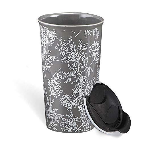 KARALIN Ceramic Travel Coffe Mug with Double Wall Insulated Tumbler,Splash Proof Mug Lid 12 oz (Gray)