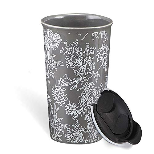 Butterfly Paradise Insulated Double Walled Cream Travel Mug Ceramic Boxed NEW