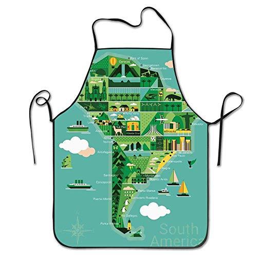Taille Südamerika Karte mit Sehenswürdigkeiten Denkmäler und Sehenswürdigkeiten müssen Orte besuchen Schürze Home Lätzchen Schürze für Frauen Männer Mädchen Kinder Geschenke Küche Dekoration Kochen