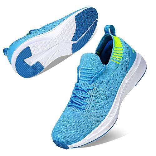 Kyopp Damen Turnschuhe Atmungsaktiv Leichte Laufschuhe Sportschuhe Sneaker für Fitness Gym Outdoor Walkingschuhe Freizeitschuhe(1 Hellblau 42EU)