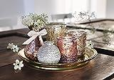 """6tlg. Deko Set """"Orient"""", Glas-Tablett mit Windlicht-Gläsern und Vase, Teelichthalter"""