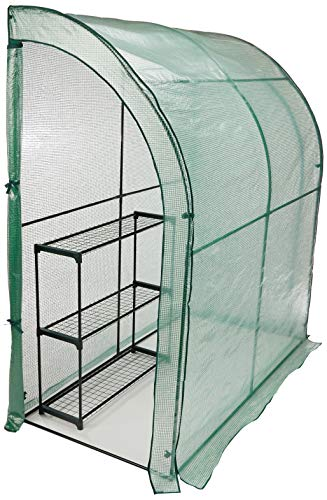 CO-Z Lean to Greenhouse Walk in, Portable Mini Green House with PE Cover, Waterproof Hot House UV Protected Walking Plant Green House, 3.3 x 6.6 x 7.0 Feet.