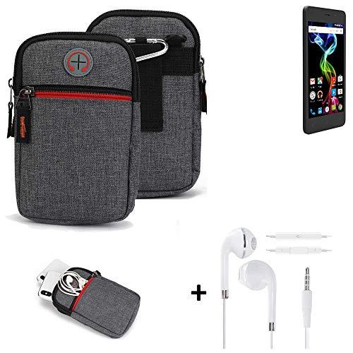 K-S-Trade® Gürtel-Tasche + Kopfhörer Für -Archos 45d Platinum- Handy-Tasche Schutz-hülle Grau Zusatzfächer 1x