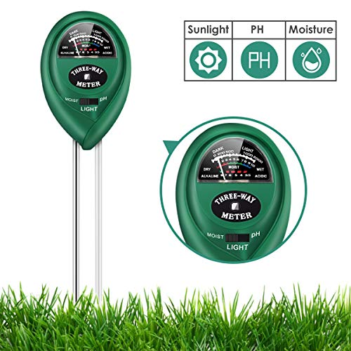 MUDSHI Green Soil Test Kit, 3-in-1 Soil Tester with Moisture, Light and PH Test, Double Needle Design Soil PH Meter for Home/Garden/Farm/Lawn/Indoor & Outdoor