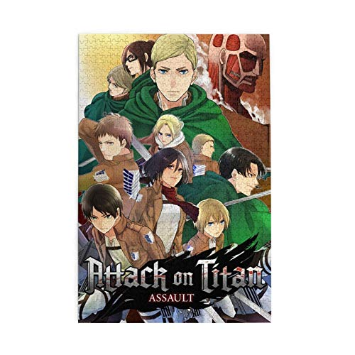 Hot Japanese Anime Attack On Titan Cartoon Manga Wooden Jigsaw Puzzles HD Printed Cartoon Patchwork Pattern Home Decoration for Adults,Kids,Teens (1000 Pcs)