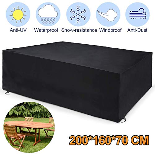 Popolic Garden Furniture Cover,200×160×70cm Black Rectangular Patio Outdoor Cover for Furniture Table,420D Heavy Duty Rip Proof Oxford with Silver Coating &2 Windproof Buckles PU Waterproof&Anti-UV