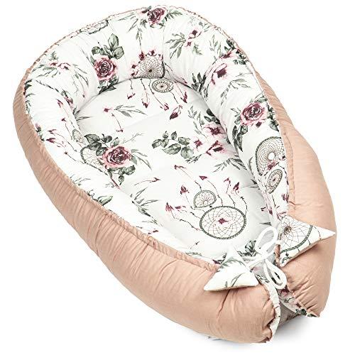 Nido para Bebe - Reductor de Cuna Nido Bebe Recien Nacido algodón con Certificado Oeko-Tex (Atrapasueños - Algodón Rosa, 90 x 50 cm)