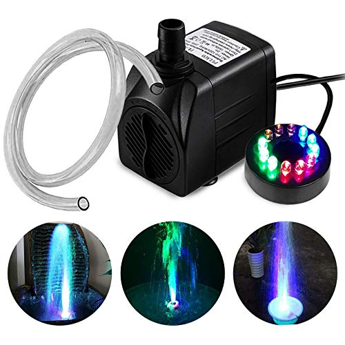 PULACO 10Watt 160 GPH Submersible Fountain Pump wiht LED Light for Water Feature, Outdoor Pond, Aquarium fish tanks, Home Décor Fountain