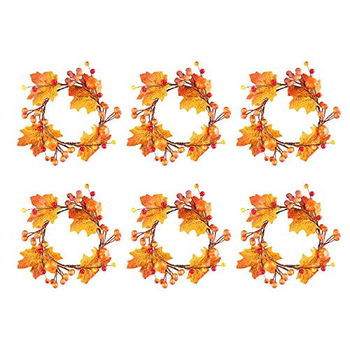 ASSR 6 Pack Fall Candle Ring,Halloween Candle Ring,Fall Floral Pillar Candle Ring with Maple Leaf and Pumpkin,Candle Holder Rings,Candle Wreath Ring,Small Artificial Autumn Wreath for Harvest Autumn