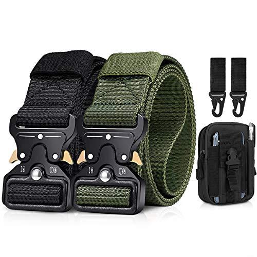 BESTKEE Paquete de 2 cinturones tácticos para hombres de 1.5 pulgadas, cinturón resistente, hebilla de metal de nailon con cierre de liberación rápida, regalo con bolsa táctica molle y gancho