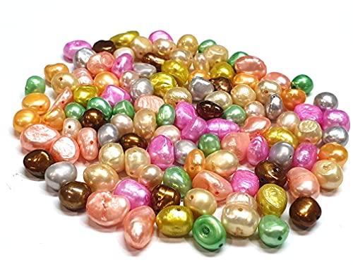 Perle coltivate d'acqua dolce, 8 mm, mix di perle a chicco di riso naturali, perle da infilare per bigiotteria fai-da-te, pietre preziose D496