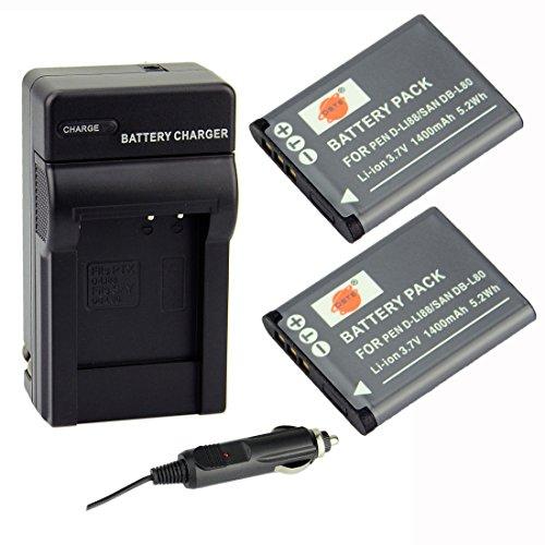 DSTE® アクセサリーキット Pentax D-LI88 DB-L80 VW-VBX070 互換 カメラ バッテリー 2個+充電器キット対応機種 Optio H90 P70 P80 W90 WS80 [並行輸入品]