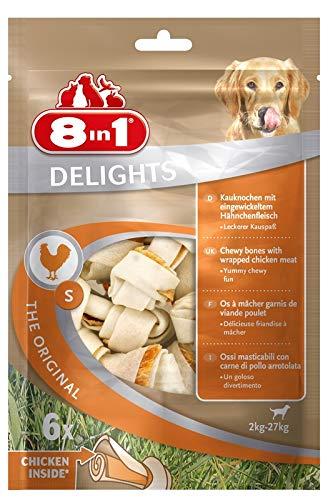 8in1 Delights Chicken Knochen S - gesunder Kauknochen für kleine Hunde, hochwertiges Hähnchenfleisch eingewickelt in Rinderhaut, 6 Stück