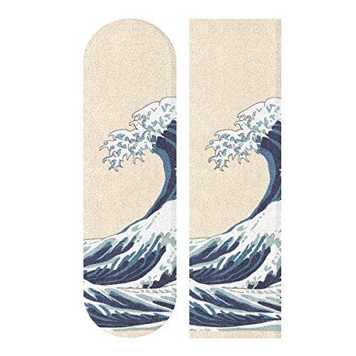 LMFshop 33,1x9,1 Zoll Sport im Freien Longboard Griptape Japan Riesenwellen-Kunst-Motiv-Druck Wasserdichtes Griffband für Tanzbrett Doppelwippenbrett Deck 1 Blatt