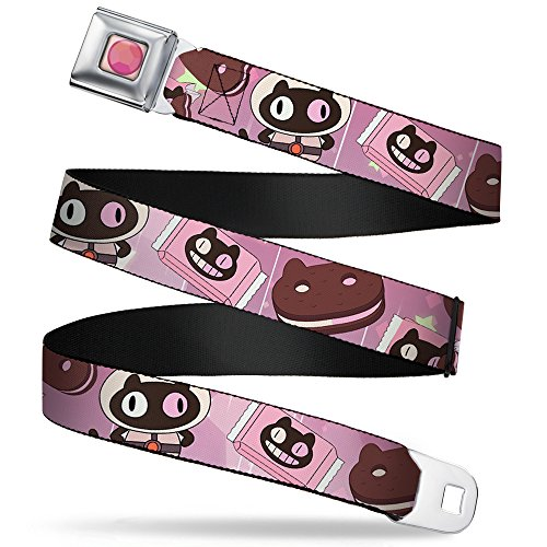 Buckle-Down Seatbelt Belt - Cookie Cat Pose/Sandwich Pinks/Browns/White - 1.0' Wide - 20-36 Inches in Length