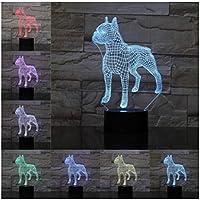 3Dイリュージョンナイトライト かわいい動物の犬 キッズ3DLEDナイトライトファッション7色段階的に変化するスマートタッチスイッチUSBテーブルランプホリデークリスマスおもちゃギフト家の装飾