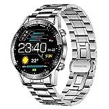 LIGE Smartwatch Uomo, 1,4'' Full Touch Fitness Tracker Impermeabile IP67 Cardiofrequenzimetro da Polso Contapassi Calorie, Acciaio Inossidabile Intelligente Sportivo Orologio Android iOS Argento