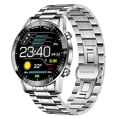 LIGE Smartwatch Herren, Fitness Tracker 1.4 Voll Touchscreen Sportuhr mit Pulsuhr Schrittzähler Aktivitätstracker Blutdruckmessung Musiksteuerung, Edelstahl Band Fitnessuhr für Android iOS Silber