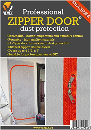 Breathable Professional Zipper Door, Dust Protection Wall, Zip Barrier for Dust Containment - Heavy-Duty Construction Access Door - Grow Room Seal - Reusable