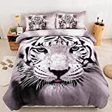 Tiger Duvet Cover Queen 3D Animal White Tiger Printed Bedding Comforter Cover with 2 Pillowcases for Kids Adults, Soft Microfiber Bedding Set (Queen, 3Pcs)