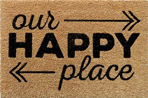 Entryways Felpudo de Fibra de Coco Antideslizante Happy Place, Color Negro, 40 cm x 60 cm x 15 mm