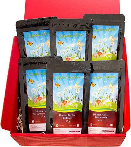 Oster Kaffee-Box, Ostern Geschenk - Tolle Box Mit 6 Sagenhaften Kaffees á 65g (Gemahlener Kaffee, Roter Karton)
