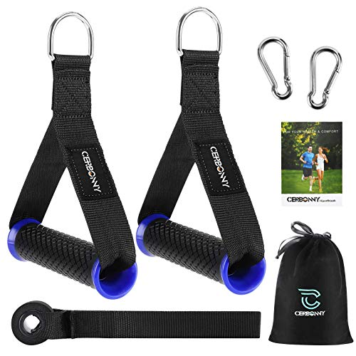 Cerbonny Resistance Band Handles Grips Fitness Strap Wide Design Heavy Duty Cable Handles with Solid ABS Cores, Durable Carabiners with Heavy Gauge Welded D-Rings (1 Pair) (S)
