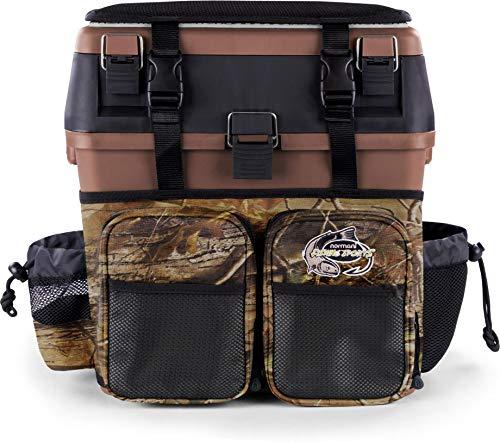 normani Angelkoffer Angelbox Angeltasche gepolsterte Sitzkiepe Sitzfunktion Gerätekasten mit Rucksackfunktion und aufgesetzen Taschen - inklusive 4 Tackle-Boxen für Angelzubehör Farbe Braun