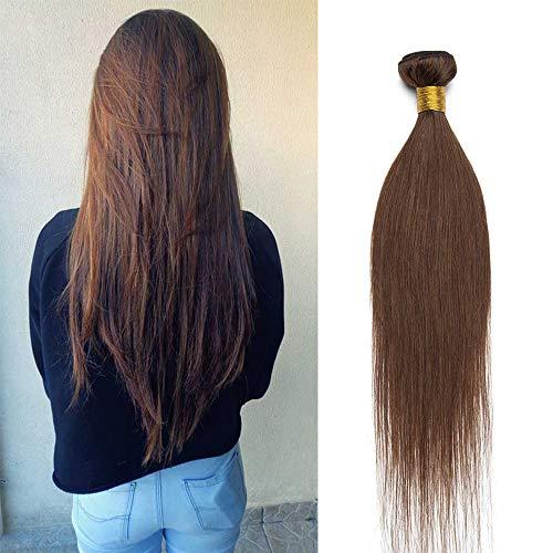 Extension Tissage Cheveux Naturel Tissage Bresilien Mèches Lisse en Lot de 1 - Rajout 100% Cheveux Humain sans Clips #04 Châtain 100g - 35 cm