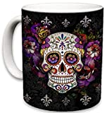 Sweet Gisele Sugar Skull Ceramic Mug, Floral Print Coffee Cup, Day of the Dead Design, Beautiful Vivid Colors, Great Novelty Gifts 11 Fl. Oz Black