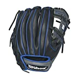 Wilson 6-4-3 1786 Pedroia Fit Infield Baseball Gloves, Black/Royal Accents, 11.5', Right Hand Throw
