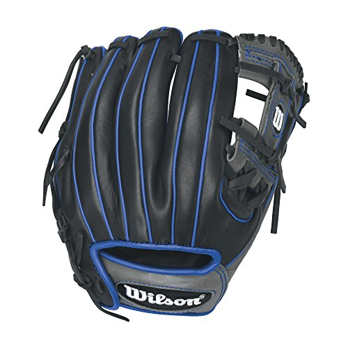 Wilson 6-4-3 1786 Pedroia Fit Infield Baseball Gloves, Black/Royal Accents, 11.5