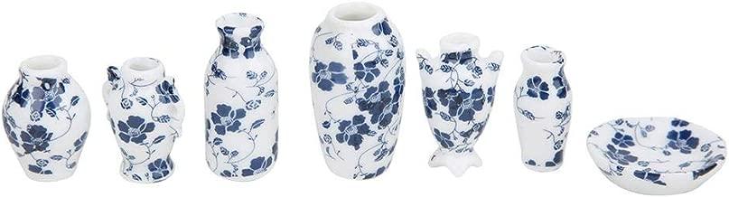 Tnfeeon 7Pcs Doll House Decoration Vases Set, Exquisite Simulation Blue and White Porcelain Photography Props 1:12 Dollhouse