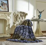 Lindsey Home Fashion Faux Fur Throw, Blankets for Bed Super Soft Fiber, Mink, Wolf, Bear, Coyote, 60'x84', 60'x70', 60'x60' (60x70(INCH), Puma Patch Work Blue)