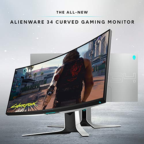 Alienware 120Hz UltraWide Gaming Monitor 34 Inch Curved Monitor with WQHD (3440 x 1440) Anti-Glare Display, 2ms Response Time, Nvidia G-Sync, Lunar Light - AW3420DW