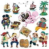 DECOWALL DS-8010 Piratas y la Isla del Tesoro Vinilo Pegatinas Decorativas Adhesiva Pared Dormitorio Salón Guardería Habitación Infantiles Niños Bebés (Pequeña)