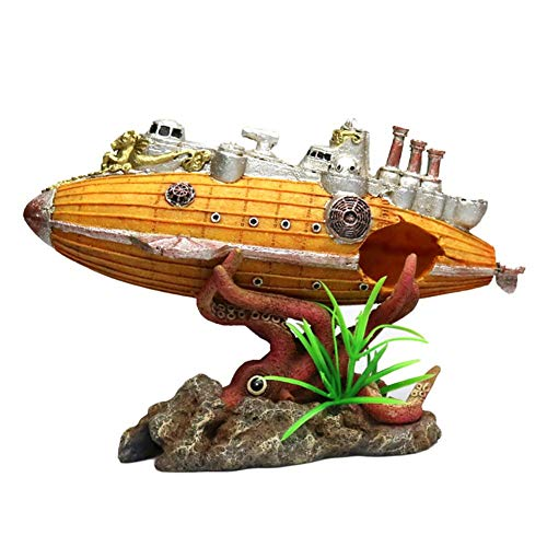 Harz U-Boot Aquarium Octopus Ornament Dekorationen Boot Schiff Schlachtschiff Aquarium Ornament Aquarium Landschaftsbau Steingarten Pflanze Dekoration
