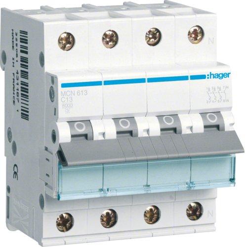 Hager MCN613 LS-Schalter 3P+N 6kA C-13A 4M