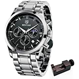 BENYAR -Wrist Watch for Men, Stainless Steel Strap Watches, Perfect Quartz Movement, Waterproof Analog Chronograph Business Watches