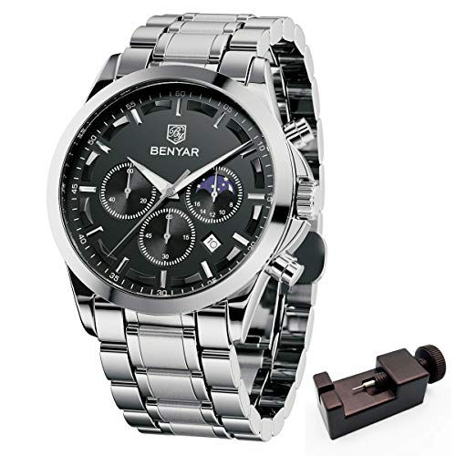 BENYAR Mode Herren Quarz Chronograph Wasserdicht Edelstahl 30M wasserdichte Uhren Business Casual Sport Design Armbanduhr für Herren