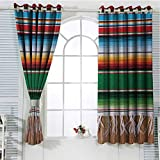 Jinguizi Mexican Room Darkening Curtains for Bedroom Boho Serape Blanket with Horizontal Stripes and Lines Authentic Cultures Picture Window Curtains Multicolor 55 x 40 inch